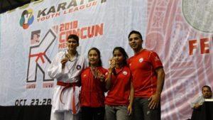 """Tres medallas conquistan karatekas ariqueños en el """"Youth League Karate 1"""" Cancún 2018"""