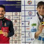 Damián Quintero, Sandra Sánchez y el equipo femenino de katas, oro en Shangai