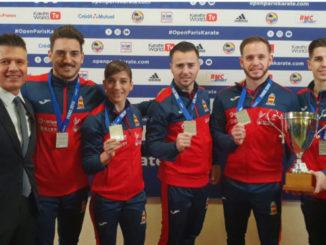 Damián Quintero, Sandra Sánchez y el equipo masculino de katas, plata en París
