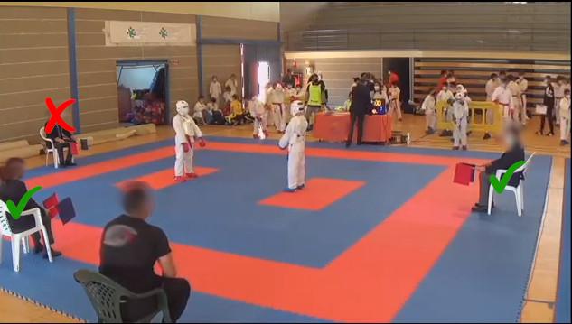 Colocación de los jueces de kumite cuando se utiliza el sistema de 3 jueces 4 (3)